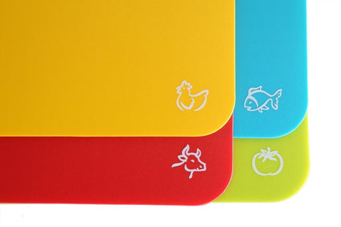 Flexible Cutting Board Mats With Food Icons Extra Thick Plastic 2MM Hanging N... - Chickadee Solutions - 1