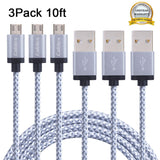 Cablex 3 Pack 10FT Micro USB Cable Nylon Braided High Speed USB 2.0 A Male to... - Chickadee Solutions - 1