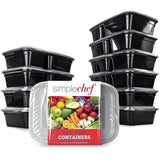 Simple Chef Meal Prep Food Containers - Set of 10 Food Storage Containers for... - Chickadee Solutions - 1