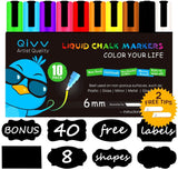 10 Colors - QIVV Liquid Chalk Markers Pens - 6mm Reversible Tip (CHISEL/BULLE... - Chickadee Solutions - 1