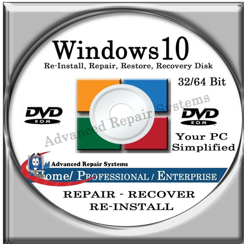 WINDOWS 10 SYSTEM REPAIR & RE-INSTALL 32 Bit & 64 Bit BOOT DISK: Repair & Re-... - Chickadee Solutions - 1