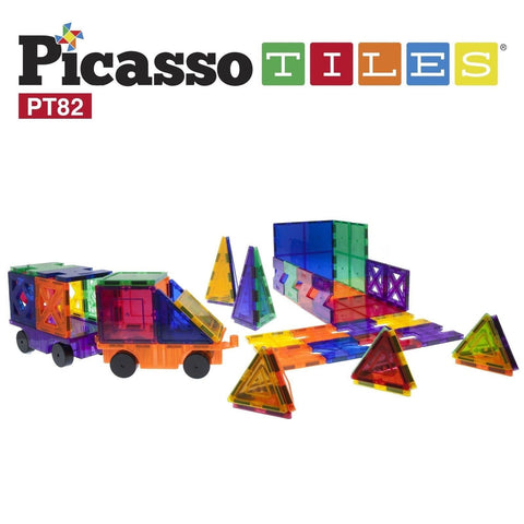 PicassoTiles 82 Piece Building Blocks 82pcs Creativity Kit 3D Building Constr... - Chickadee Solutions - 1