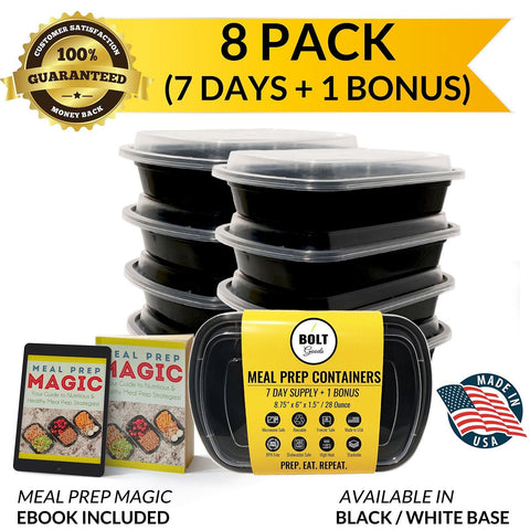 Bolt Goods 1 Compartment Plastic Meal Prep Containers (8 Pack) Durable Food S... - Chickadee Solutions - 1