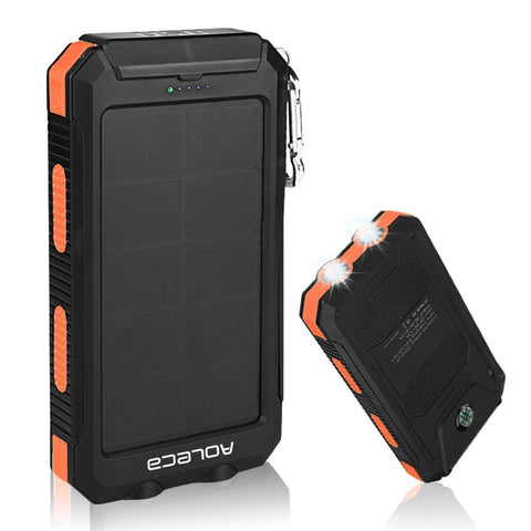 Solar charger Aoleca Portable Solar Power bank 10000mAh Rain-resistant Dirt/S... - Chickadee Solutions - 1