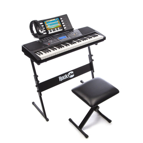 RockJam 561 Electronic 61 Key Digital Piano Keyboard SuperKit with Stand Stoo... - Chickadee Solutions - 1