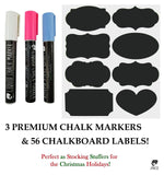 Premium Quality: 56 Chalkboard Labels & 3 Colored Chalk Markers (Pink White &... - Chickadee Solutions - 1