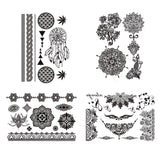 COKOHAPPY Temporary Tattoo Black Lace 4 Different Sheets ( One-set ) Henna W... - Chickadee Solutions - 1