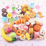 10Pcs Random Kawaii Mini Soft Squishy Foods Panda Bread Bun Toasts Multi Donu... - Chickadee Solutions - 1
