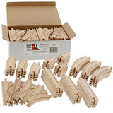 Wooden Train Track 52 Piece Pack - 100% Compatible with All Major Brands incl... - Chickadee Solutions