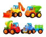 Set of 4 Cartoon Friction Powered Play Vehicles for Toddlers - Dump Truck Cem... - Chickadee Solutions - 1