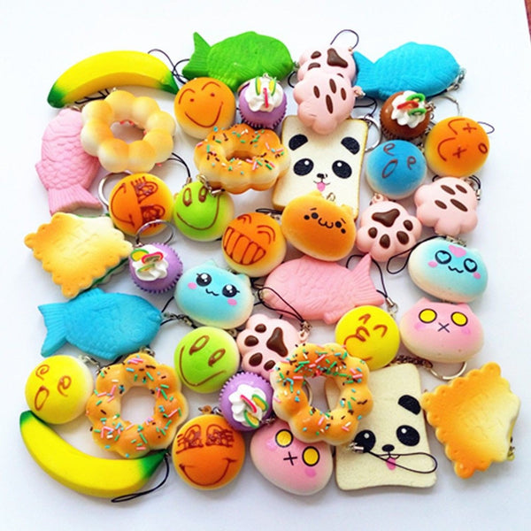 Squishy Toys Package : Random 10 Pack Squishies Squishy Toys Charms Cell Gift Phone Chain Phone Straps Chickadee ...