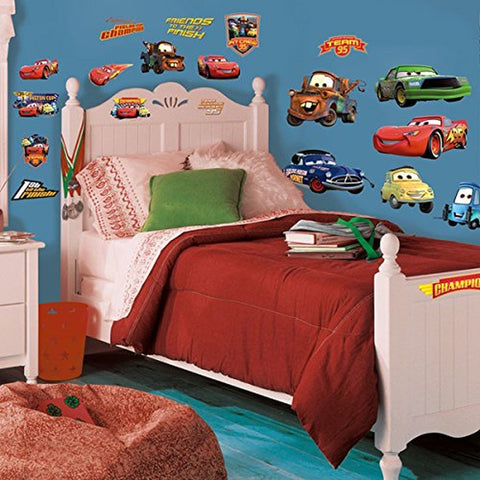 Roommates Rmk1520Scs Disney Pixar Cars Piston Cup Champs Peel & Stick Wall De... - Chickadee Solutions - 1