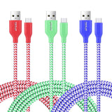 OKRAY 3 Pack 6ft 1.8M Durable Braided Nylon Woven Tangle-Free Micro USB 2.0 C... - Chickadee Solutions - 1