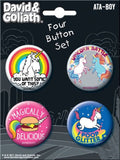 Ata-Boy David and Goliath Unicorns 4 Button Set - Chickadee Solutions - 1