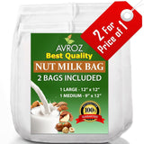 My Best Nut Milk Bag - 2 Pack Large (12x12) & Medium (12x9) Strong Reusable A... - Chickadee Solutions - 1
