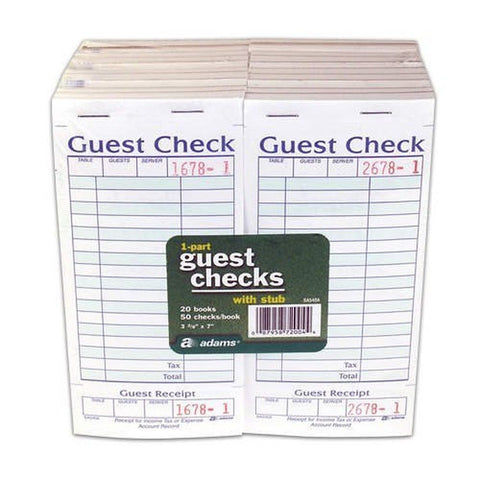 Adams SA540A Guest Check With Stub ( 50 Checks Per Pad) - Chickadee Solutions