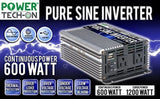 Power TechON PS1001 Pure Sine Wave Inverter (600W) - Chickadee Solutions - 1
