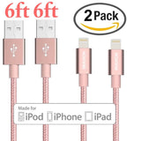 iPhone Charger IWAVION 2Pack 6FT Lightning Cable Extra Long Nylon Braided 8 P... - Chickadee Solutions - 1