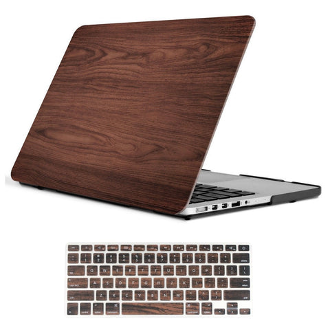 iCasso - 2 in 1 Wooden Pattern Rubberized Plastic Hard Case + Keyboard Cover ... - Chickadee Solutions - 1