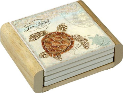 CounterArt Sea Turtle Design Absorbent Coasters in Wooden Holder Set of 4 - Chickadee Solutions