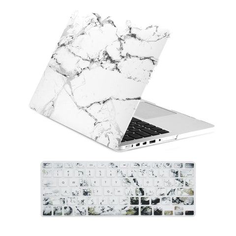 TopCase 2 in 1 Retina 13-Inch White Marble Rubberized Hard Case and Keyboard ... - Chickadee Solutions - 1