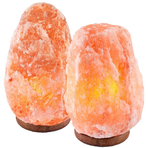 "Crystal Decor Set of 2 Hand Crafted Natural Himalayan 9"" Salt Lamp On Wooden ... - Chickadee Solutions - 1"
