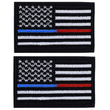 2 Pieces Tactical USA Flag Patches -Thin Red and Blue Line Velcro American Fl... - Chickadee Solutions - 1