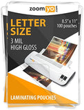 "Zoomyo Laminating Sheets Letter Size 8.5"" x 11"" 3 mil High Gloss - 100 sheets... - Chickadee Solutions"