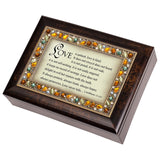 I Corinthians 13:4-6 Italian Style Burlwood Finish Jewel Lid Music Jewelry Bo... - Chickadee Solutions - 1