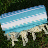 Turquoise Turkish Towel Peshtemal - 100% Natural Dyed Cotton - for Beach Spa ... - Chickadee Solutions - 1