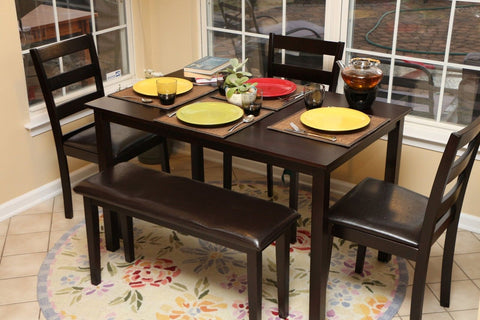 Home Life 5pc Dining Dinette Table Chairs & Bench Set Espresso Finish 150236 - Chickadee Solutions - 1