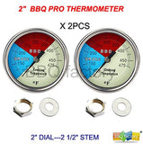 "2"" 475F (2-pack) BBQ CHARCOAL GRILL PIT WOOD SMOKER TEMP GAUGE THERMOMETER 2.... - Chickadee Solutions - 1"