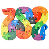 DD Wooden Jigsaw Puzzles Winding Snake Toys Letter & Numbers Puzzles Educatio... - Chickadee Solutions - 1