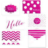 Pink Foil All Occasion Note Card Assortment Pack - Set of 24 cards - 4 design... - Chickadee Solutions - 1