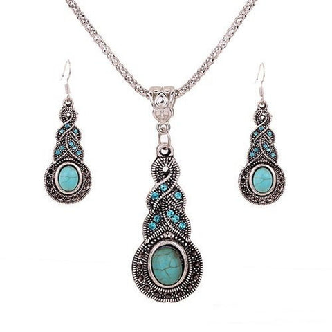 1 X Fashion Womens Retro Turquoise Rhinestone Earrings Necklace Jewelry Set - Chickadee Solutions - 1