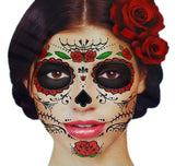 Glitter Red Roses Day of the Dead Sugar Skull Temporary Face Tattoo Kit - Pac... - Chickadee Solutions - 1