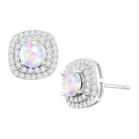 1 ct Created Opal & Cubic Zirconia Halo Stud Earrings in Sterling Silver - Chickadee Solutions - 1