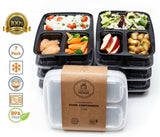 Healthy Packers 3 Compartment Reusable Food Prep Containers with Lids Bento L... - Chickadee Solutions - 1
