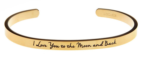 """I Love You to the Moon and Back"" Inspirational Messaged Cuff Bracelet Bangle - Chickadee Solutions - 1"