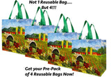 Earthwise Reusable Shopping Tote Bag (4 Pack) - Chickadee Solutions - 1
