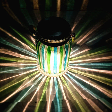 Green Stripe Copper Finish Light Cap Solar Glass Jar Sogrand Solar Lights Sma... - Chickadee Solutions - 1