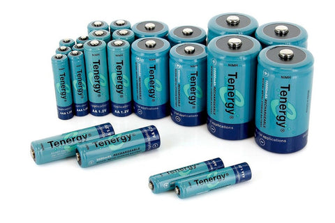 Tenergy High Capacity NiMH Rechargeable Combo with 24 batteries 8AA/8AAA/4C/4... - Chickadee Solutions - 1