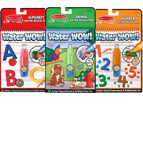 Melissa & Doug On The Go Water Wow Bundle Animals Alphabet and Numbers Paint - Chickadee Solutions