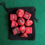 Dragon Fire (Red / Black) RPG D&D Dice Set: 7 + 3d6 = 10 polyhedral die plus ... - Chickadee Solutions - 1