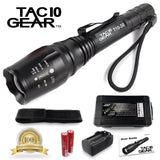 TAC10 GEAR Super Bright LED Tactical Flashlight CREE XML-T6 Includes Recharge... - Chickadee Solutions - 1