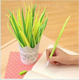 Generic Poo-leaf Forest Green Grass-blade Ballpoint Silicon Grass Pen Black I... - Chickadee Solutions - 1
