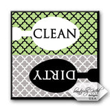 Clean Dirty Dishwasher Magnet Sign for Dishes - Elegant Quatrefoil Moroccan T... - Chickadee Solutions - 1
