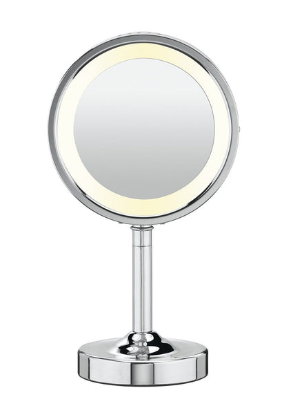 Conair double sided lighted makeup mirror polished chrome for Miroir double face