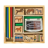 Melissa & Doug Horse Stable Stamp Set Glossy Exclusive Paper - Chickadee Solutions - 1