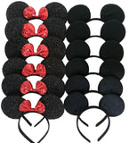 Mickey Mouse Ears Solid Black and Bow Minnie Headband for Boys and Girls Birt... - Chickadee Solutions - 1